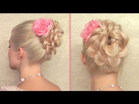 Easy prom updo for long hair Summer flower bun Elegant wedding hairstyles