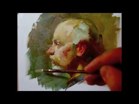 """Profile"" , 100 minutes alla prima oil painting demo from Tan's Fine Art Studio, by Zimou Tan"