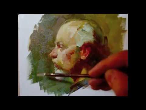 """""""Profile"""" , 100 minutes alla prima oil painting demo from Tan's Fine Art Studio, by Zimou Tan"""