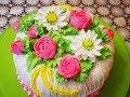 МК по хризантеме , розе и бутону розы  Украшение торта кремом Cake decoration
