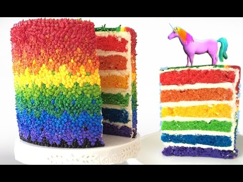 RAINBOW CAKE UNICORN How To Cook That Rainbow Cake by Ann Reardon