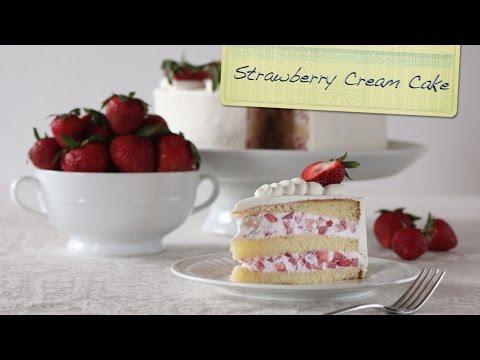 Strawberry Cream Cake | Chiffon Cake, Fresh Strawberries, and Lightly Sweeten Whipped Cream