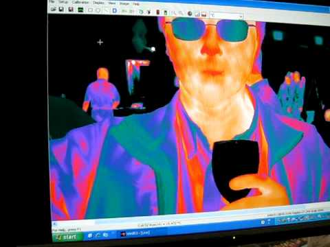 Thermal images with a glass of cold white wine
