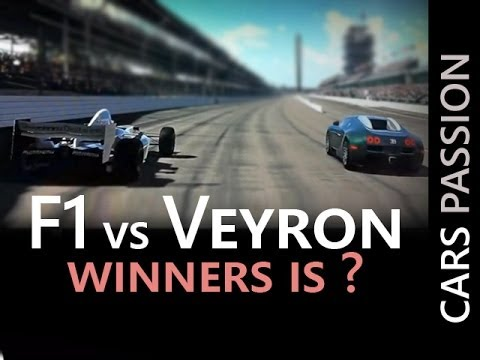 Bugatti Veyron VS  Formule 1 - Drag race acceleration vmax 350 kmh speed