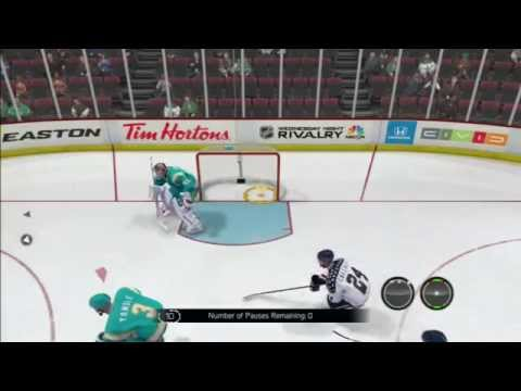 MASSIVE Hit OVER the Net - Gl**** (NHL 14 Clips)