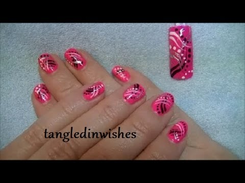 Pink Abstract Nail Art Design