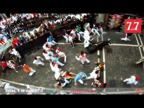 Encierro San Fermin Pamplona del día 9 de Julio 2012   Cebada Gago