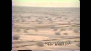 A-10s in combat tearing up Iraqi armor in Direct air support for the 2nd Brigade, 1st Armored Div on 27 Feb 1991. Sergeant Dale Bartlett, USMC, films and narrates.  Listen for the brrrrrrbbbbbb of the 30MM Cannon a second or 2 after the white smoke exits the aircraft during the strafing runs.