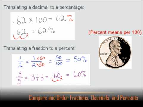 Number Sense - Compare and Order Fractions, Decimals and Percents: 6th grade math