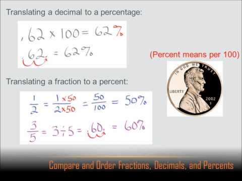 Number Sense - Compare and Order Fractions, Decimals and Percents: 6th grade math