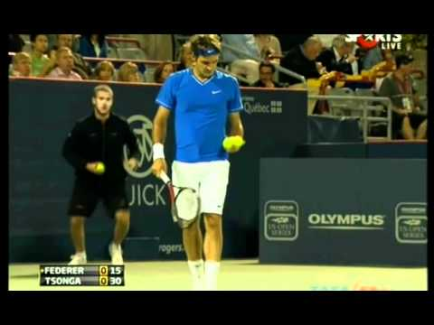 Roger Federer - 4 aces in a row vs Tsonga (Montreal 2011)