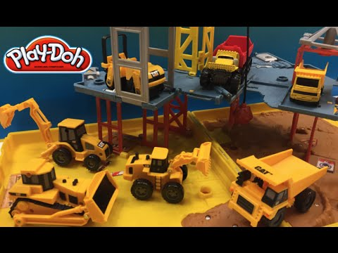 PlayDoh Fun With Matchbox Mini Mighty Machines Excavators Bulldozer At  Folding Construction Job Site