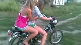 Girls Motorcycle Wheelie Fail