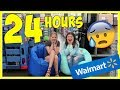 24 hours overnight challenge in walmart dog food fort    taylor and vanessa