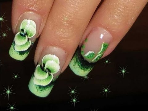 One stroke NAIL ART TECHNIQUE.Green nail design