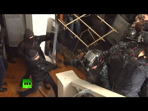 Violent video: (Ukraine rioters) brutally beat police, storm local admin building  1/25/14