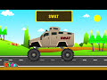 Фрагмент с средины видео - Police Monster Truck | Police Vehicles for Children | Little Kids TV