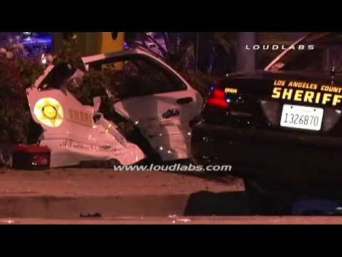 Deputy Trapped and Rescued after Crash / Bellflower   RAW FOOTAGE
