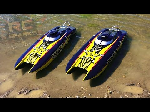 RC ADVENTURES - UNBOXiNG 2 ROCKSTAR 48-inch Catamaran Gas Powered Boats & First Race - UCxcjVHL-2o3D6Q9esu05a1Q