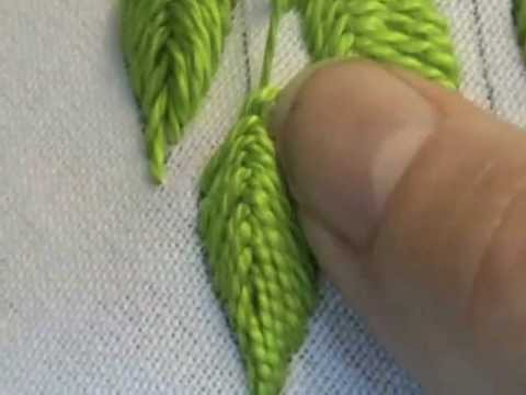 Raised Close Herringbone Stitch Leaf