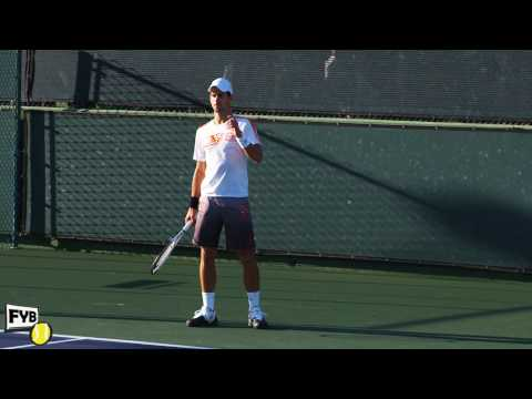 Novak Djokovic playing practice points in slow motion HD -- Indian Wells Pt. 11