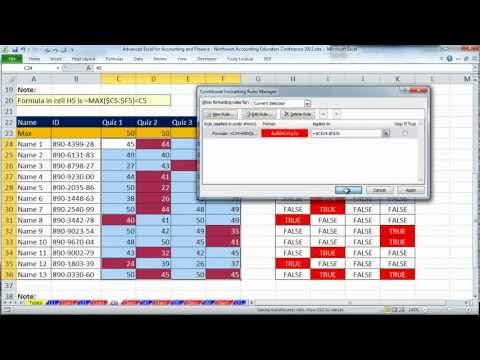 Excel for Accounting and Finance - Northwest Accounting Educators Conference 2012