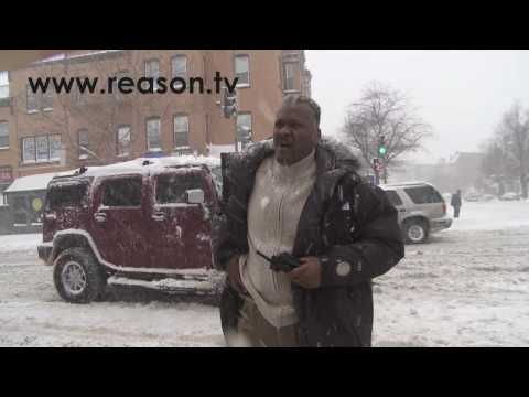 DC Cop Waves Gun at Snowball Fight!