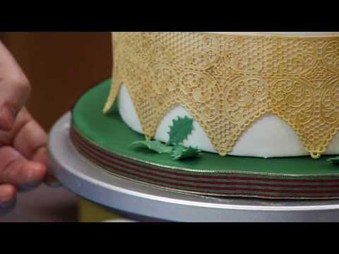 How To Decorate a Christmas Poinsettia Cake   Part Two   Global Sugar Art