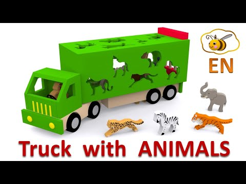 Cartoons about trucks and cars for children. Learn 15 wild animals in English!