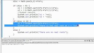 Java - Math Example Quadratic Formula 3