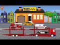 Фрагмент с средины видео - Автовоз и машины городских служб. Полицейская, Скорая, Пожарная и Такси