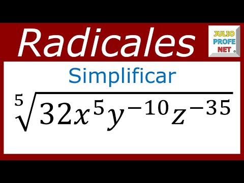 Simplificación de un radical con exponentes negativos