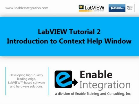 LabVIEW Tutorial 2 - Context Help Window (Enable Integration)