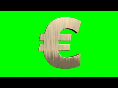 euro money sign rotates - green screen effects  (other colors available)