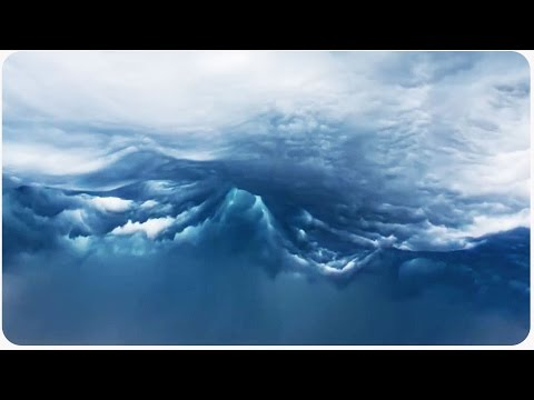 شاهد منظر جميل ورائع جدا لأمواج الغيوم  مشهد مهيب