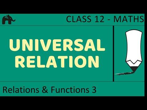 Maths Relations & Functions part 3 (Universal Trival Relation) CBSE class 12 Mathematics