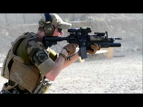 Shooting M4 Carbine at range in Afghanistan