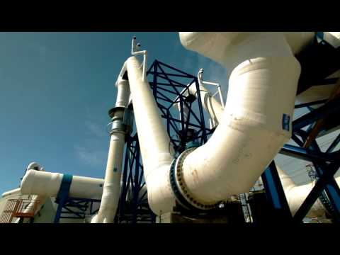 Stock Footage of a desalination plant's white pipes in Israel.