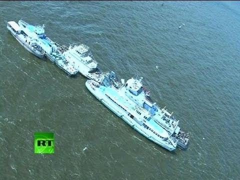 Aerial video of cruise ship disaster scene, Bulgaria debris