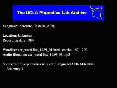 Arrernte, Eastern audio: aer_word-list_1989_03