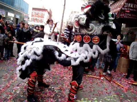 Wan Chi Ming Hung Gar institute - lion dance chinese new year 2013 - Chinatown NYC