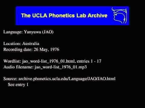 Yanyuwa audio: jao_word-list_1976_01
