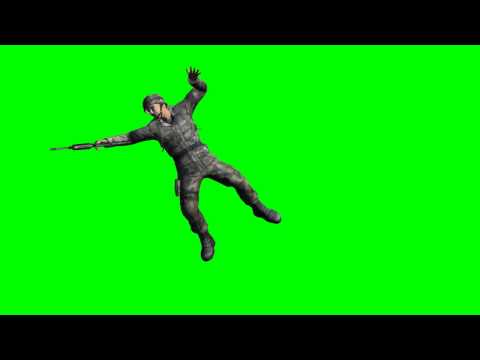 us soldier is shot - different views - free green screen effects