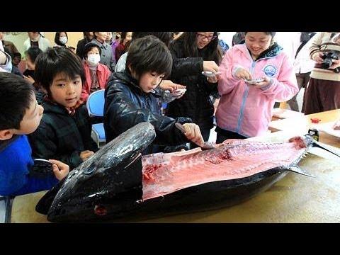 マグロ解体ショーで笑顔、釜石市の仮設住宅