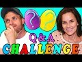 Q & A Challenge with Rainbow Play Doh Surprise Eggs! Learn About Brandon & Amy Jo from DCTC