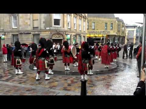 Pipe Band Outside Yee's Hung Ga Kung Fu Academy, Inverness