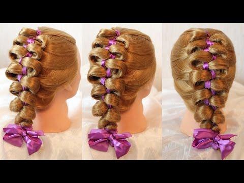 Прически на средние волосы с лентами