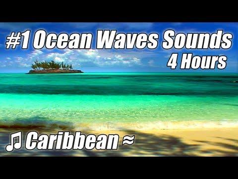 WAVE SOUNDS Very Relaxing 4 HOUR Best Caribbean Beach Video #1 Ocean Waves Tropical Beaches Videos