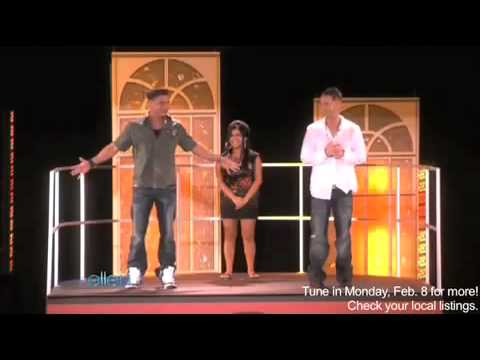 Jersey Shore cast Snookie - Pauly D Dj - The Situation  play the know or go game on ellen  on 2-8-10