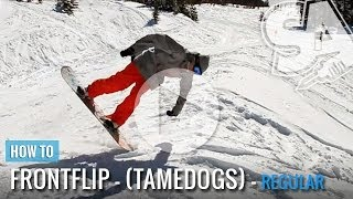How to Front Flip & Nollie on a Snowboard - (Regular) Tamedogs Trick Tip